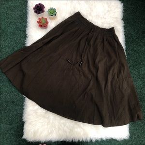 Brown Drawstring Midi Skirt NEW